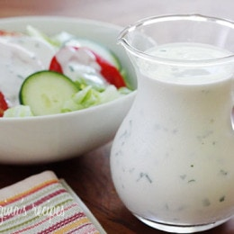 A creamy low-fat ranch dressing made with buttermilk and fresh herbs. Perfect to serve with end-of-summer garden vegetables!
