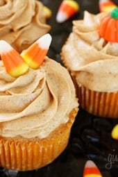 Skinny pumpkin cupcakes, perfect for Halloween parties, Thanksgiving or anytime you want a low fat pumpkin treat.