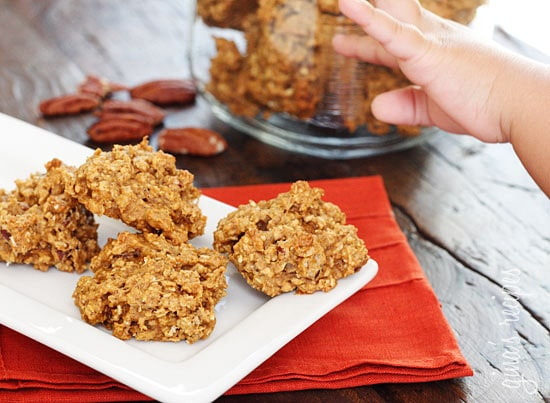 Pumpkin Spiced Oatmeal Pecan Cookies – For the pumpkin obsessed! Chewy, low-fat oatmeal cookies made with quick oats, pumpkin, spices, and chopped pecans.