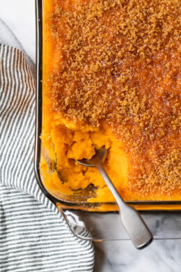 Mashed Sweet Potatoes Brulee are seasoned with with a hint of cinnamon and nutmeg topped with a caramelized brown sugar crust. Sweet potatoes are a must for Thanksgiving and this dish will be a hit on your Holiday table.