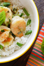 Sweet coconut milk and spicy green curry paste are blended with shrimp and basil to create a comforting Thai curry dish in less than 10 minutes! Serve over Jasmine rice or cauliflower rice to make it a meal.