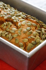 The day was cool and crisp, perfect for baking a low fat pumpkin bread. Warming my kitchen with the sweet scent of pumpkin spices – Oh how I just love October.