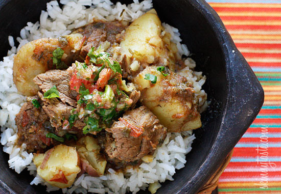 Carne Guisada or Latin Beef Stew – Chunks of beef are simmered in beer with scallions, garlic, tomatoes, cumin and cilantro. Sometimes I make it with just the meat, sometimes I add yucca or potatoes. Serve this over rice with a little aji picante and you'll have a delicious comfort dish, Latin style!