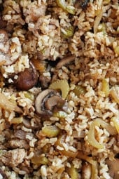 Brown rice stuffing made with Italian chicken sausage, celery, mushrooms, and onions. Serve this as a Thanksgiving side dish or you can even enjoy this as a meal. It's so good and naturally gluten free!