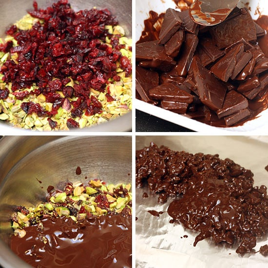 This chocolate bark is not only chocolate-y good, it's healthy too! Pistachios, cranberries and dark chocolate are loaded with antioxidants, not to mention fiber, good fats and vitamin C, so here's a sweet treat you won't feel guilty giving out.