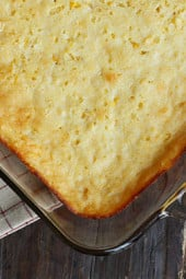 Corn casserole, a cross between of a corn pudding and a corn bread is a wonderful addition to anyone's holiday table.