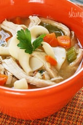 My favorite way to use up leftover turkey is to make a delicious pot of turkey soup. This is also a great way to clean out your refrigerator!