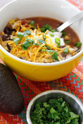 Everything you love about chicken enchiladas... in one big bowl! I love turning classic meals into soups, it's an easy (maybe even lazy) way to make a dish that doesn't require dirtying too many pots.