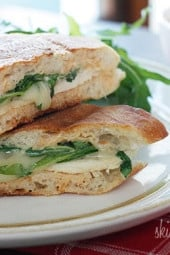 There's only one word to describe this hot grilled chicken panini with arugula, melted provolone and chipotle mayonnaise... dee-licious!
