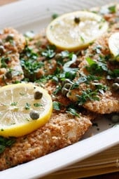 Lightly pan fried breaded filet of flounder served in a lemon, wine, butter sauce with capers and parsley. A wonderful way to enjoy flounder, tilapia or any white fish.