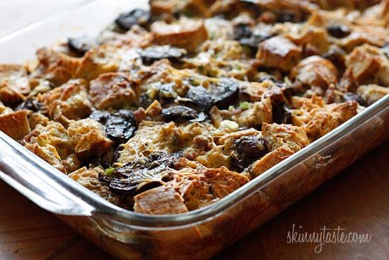 Make-Over Breakfast Sausage and Mushroom Strata Skinnytaste