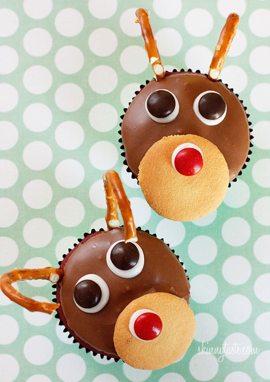 Red velvet yogurt cupcakes topped with a chocolate glaze. These festive reindeer cupcakes are easy to make perfect for a Holiday party!