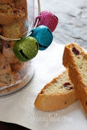 Don't you just love a good biscotti in the morning with a cup of coffee? These Italian biscotti cookies are loaded with pistachios and cranberries, twice baked to form a crispy delicious cookie, perfect for dunking!