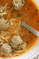 What can be more kid friendly than a bowl of soup with spaghetti and meatballs! Lean turkey meatballs are cooked in a light tomato broth with cut up spaghetti. This is a one pot meal my whole family loves and leftovers are great for lunch.