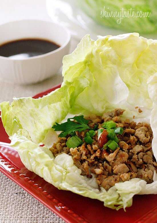 Asian Chicken Lettuce Wraps – sautéed ground chicken, shiitake mushrooms and water chestnuts seasoned with Asian spices are served in a crispy cold lettuce leaf with a spicy hoisin dipping sauce.