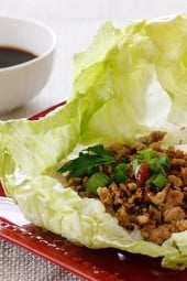 These Asian Chicken Lettuce Wraps are made with sautéed ground chicken thighs and shiitake mushrooms with spicy hoisin dipping sauce.