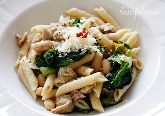 Pasta with Italian Chicken Sausage, Escarole and Beans made with lots of garlic, lean Italian chicken sausage, white cannellini beans, crushed red pepper and grated cheese.