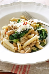 Penne pasta tossed with garlicky escarole, lean Italian chicken sausage, cannellini beans, crushed red pepper and grated cheese. I cannot even begin to describe how good this is! A winner with everyone in my home, even my picky kids. Easily made gluten free with gluten-free pasta, for those of you who have dietary restrictions.