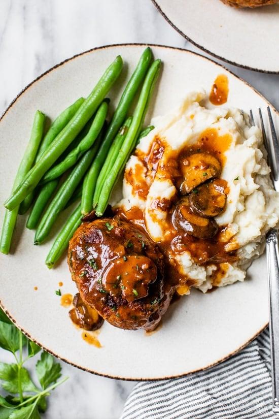 Salisbury Steak with mashed potatoes