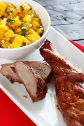 I thought this Asian inspired sweet and fiery pork tenderloin dish with mango salsa would be a great way to celebrate the Chinese New Year on January 23rd, the start of a 15-day celebration celebrating the Chinese New Year – This year it's the Year of The Dragon.