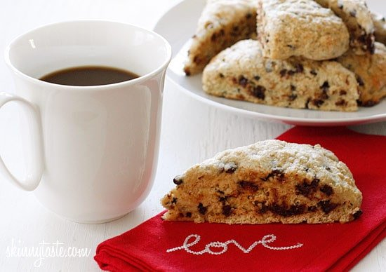 Buttermilk scones sweetened just to perfection studded with chocolate chips. Kind of like eating a giant chocolate chip cookie for breakfast... without the guilt.
