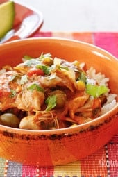 Chicken a la Criolla, a simple yet flavorful Latin dish made with stewed boneless skinless chicken thighs bell peppers, onions, garlic, tomatoes, olives, cilantro and spices. Slow cooker or Instant Pot directions provided.