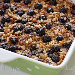 This is the BEST Baked Oatmeal recipe with Blueberries and Bananas. It's perfect to serve guests for brunch, or make it ahead for the week for easy meal prep, as leftovers taste just as good reheated.