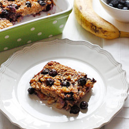 Start your day off right with this warm, satisfying heart-healthy breakfast your family will love. Oatmeal baked with ripe bananas, blueberries, cinnamon, honey and walnuts... need I say more? Yes! this IS as good as it sounds, I promise!!