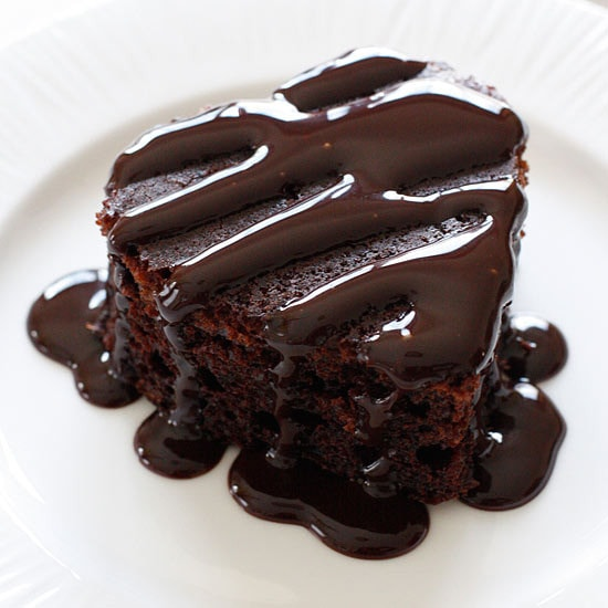 Be still my chocolate loving heart, a moist chocolate cake made from scratch with only three tablespoons of oil in the entire treat! Top this with some chocolate syrup and fresh raspberries and oh my, what a chocolate dessert!