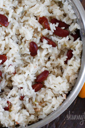 Coconut milk, thyme, scallions and scotch bonnet peppers give this Jamaican red beans and rice dish an island flair!