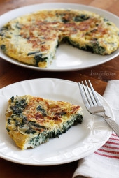Light Swiss Chard Frittata – At first bite you'll love the sweet caramelized onions in combination with the savory flavors from the Swiss chard, eggs and cheese.
