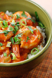 This southern Louisiana shrimp creole dish is cooked with tomatoes, onions, peppers and celery. Adjust the spice to your preference, but don't be scared of a little heat!