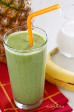 A skinny tropical green smoothie made with pineapple, shredded coconut and bananas, then blended with spinach, light coconut milk and Greek yogurt. High in Vitamin A, B-6, C, Manganese and fiber.