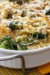 Shredded chicken breast and broccoli cooked with noodles in a light creamy sauce topped with toasted breadcrumbs. A simple dish the whole family will love, even the little ones!