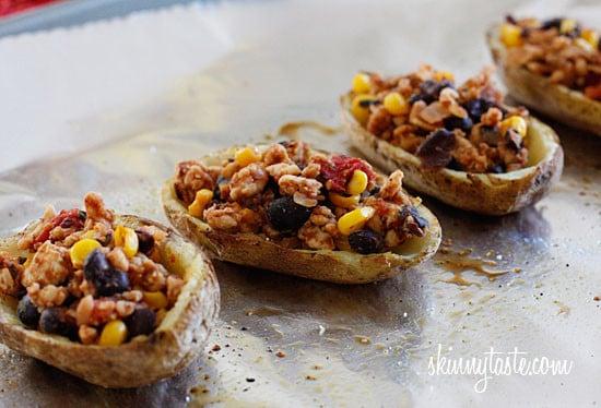 Loaded Turkey Santa Fe Baked Potato Skins   Skinnytaste