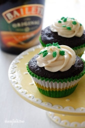 Chocolate Stout Cupcakes with Bailey's Irish Cream Cheese Frosting – Yes, you read that right, there is ale in the cupcakes and Bailey's in the frosting! I guess it's safe to call these grown-up cupcakes, and boy are they good!!