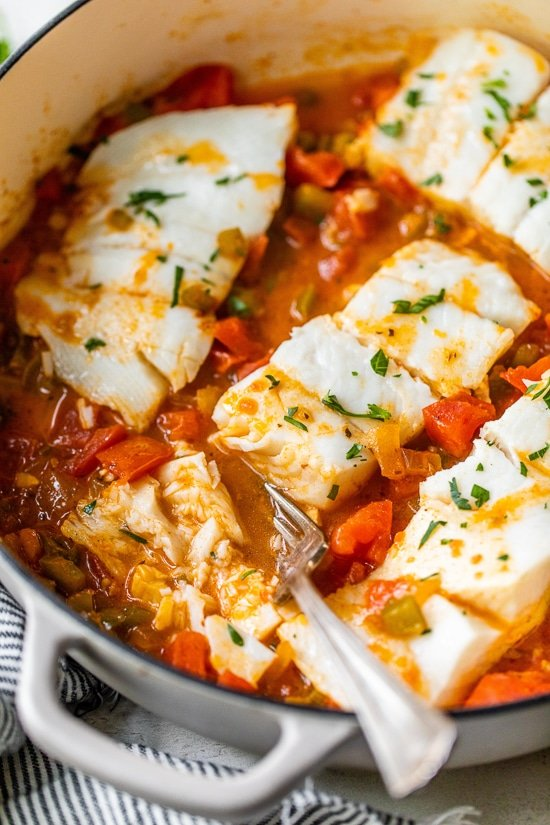 Skillet Cajun Spiced Fish with Tomatoes