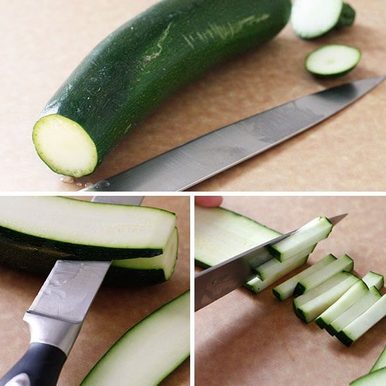 how to cut zucchini into matchsticks