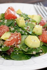 This Quinoa Salad with Spinach Grapefruit and Avocado is loaded with vitamin C, A, Potassium and good heart-healthy fats!!
