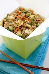 Make a healthier version of your favorite take-out with this Asian edamame fried rice! I'm a sucker for Chinese fried rice, but who knows how much oil is added when you order it out. Making it yourself is healthier and easy to do.