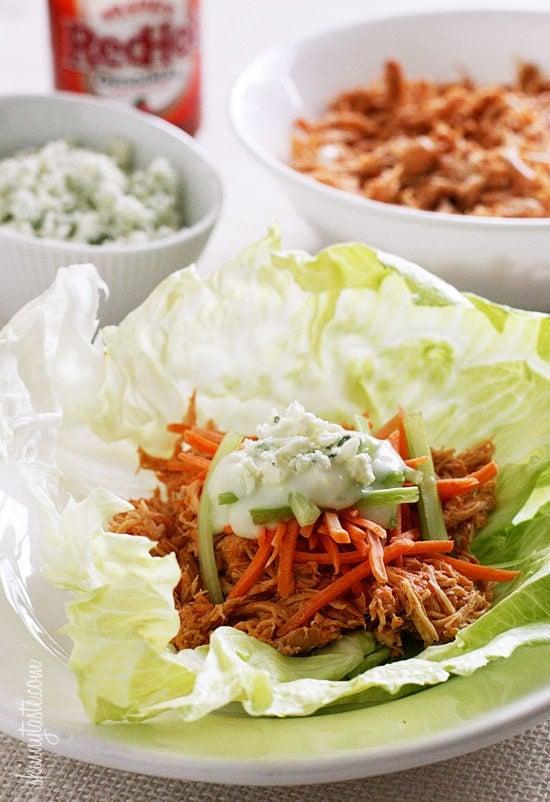 Buffalo Chicken Lettuce Wraps Slow Cooker Instant Pot Skinnytaste