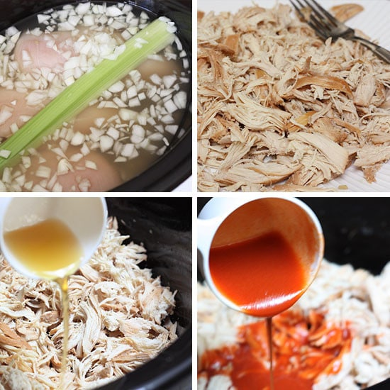 In a slow cooker, combine chicken, onions, celery stalk, garlic and ...