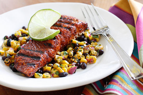 Smoky spice rubbed grilled salmon with black beans and for Side dishes to go with smoked chicken