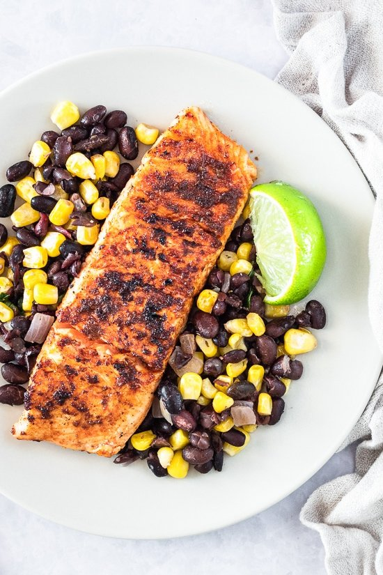 Smoked salmon with black beans and corn