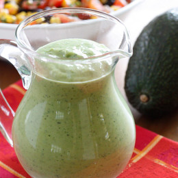 This is good stuff! Creamy avocado dressing with a little zing from the jalapeño pepper.