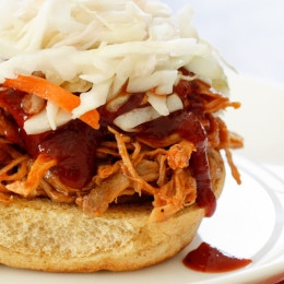 A lighter pulled pork recipe made with a homemade BBQ sauce.
