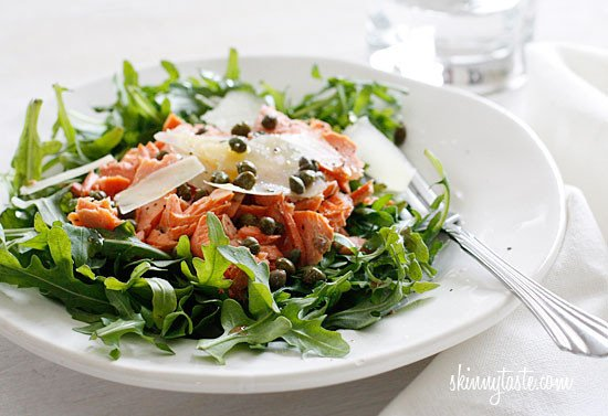 Whenever I make salmon for dinner, I usually cook an extra piece for lunch just to make this arugula salmon salad with capers and shaved Parmesan – loaded with good fats and omegas!