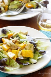 Sweet champagne mango paired superbly with creamy haas avocados and California grilled chicken for a sweet-savory salad that won't disappoint. This meal is ready in minutes, perfect for a hot summer day or night!