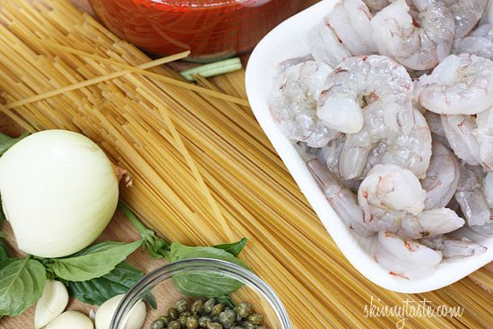 Linguini and Shrimp Fra Diavolo – A quick Italian-American pasta dish with shrimp, tomatoes, crushed red pepper flakes, garlic, basil and capers.