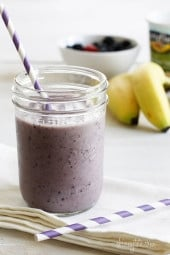Cross between smoothie and milk shake, this fro yo shake uses frozen yogurt and fresh bananas and berries. Perfect for a quick dessert or even breakfastand takes less than 5 minutes to make!